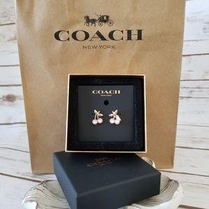 NIB | Coach Cherry Rose Gold/Pink Stud Earrings 🍒